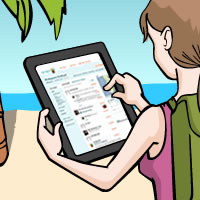 A woman lounging at a beach resort is checking her Planapple plans on her iPad