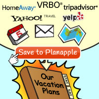 Save things into your Planapple travel binder directly from sites like TripAdvisor, HomeAway, VRBO, Yahoo Travel, Yelp, and even email.