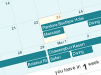 Planapple's itinerary includes a day-by-day calendar, showing where you're staying, what you're doing, and even a countdown to your departure