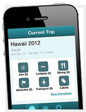 The Planapple mobile app, running on an iPhone, shows your travel plans grouped into categories like Lodging, Dining, Attractions, and Transportation